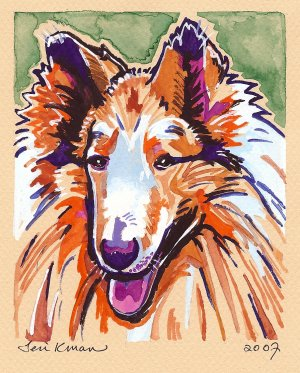 """""""Collie"""" Watercolor Painting Print"""