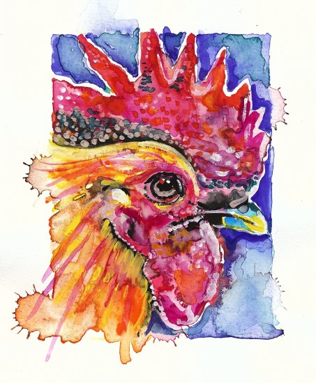 """Rooster"" Watercolor Painting Print"