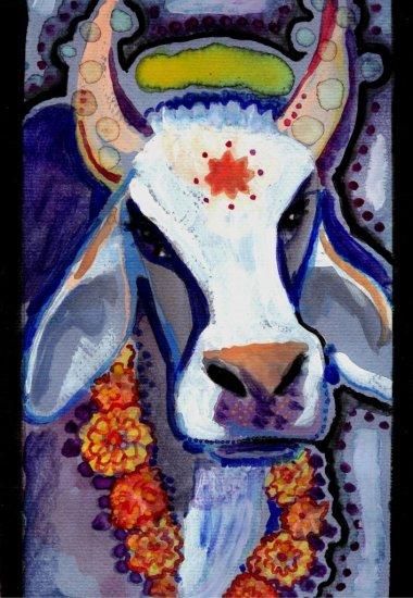 """Brahma Bull"" Gouache Painting Print"