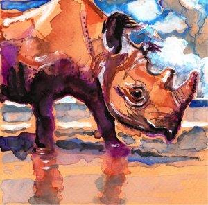 """Black Rhino"" Watercolor Painting Print"