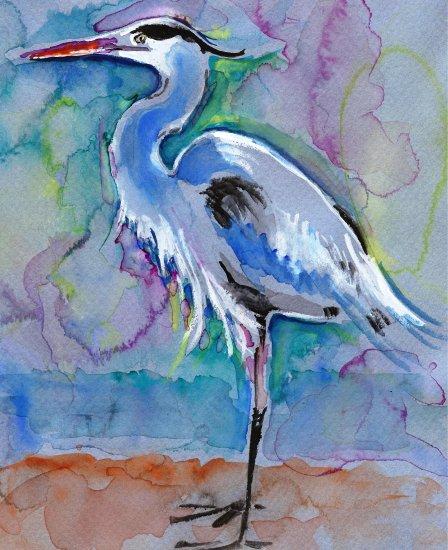 """Great Blue Heron"" Watercolor Painting Print"