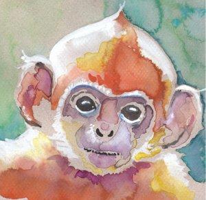 Monkey Watercolor Painting Print