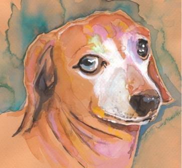 "Dachshund ""Baron"" Watercolor Painting Print"