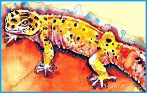 """Leopard Gecko"" Watercolor Painting Print"