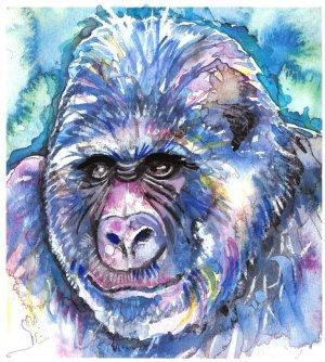 """""""Gorilla"""" Watercolor Painting Print"""