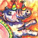 """Party Animal Rhino"" Watercolor Painting Print"