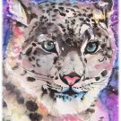 """Snow Leopard"" Watercolor Painting Print"