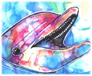 """Dolphin"" Watercolor Painting Print"
