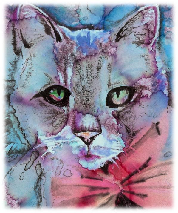 """Tabby Cat"" Watercolor Painting Print"