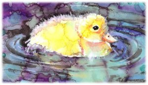 """""""Puddle Duckling"""" Watercolor Painting Print"""