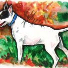 """Bull Terrier in the Woods"" Watercolor/Ink Painting Print"