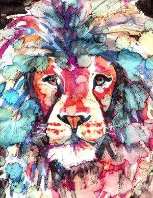 """African Lion"" Watercolor Painting Print"
