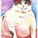 """Fat Cat"" Watercolor Painting Print"