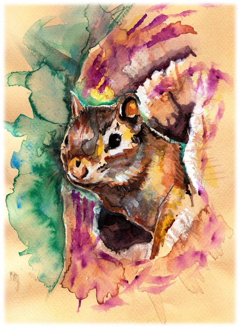 """Chipmunk"""" Watercolor Painting Print"
