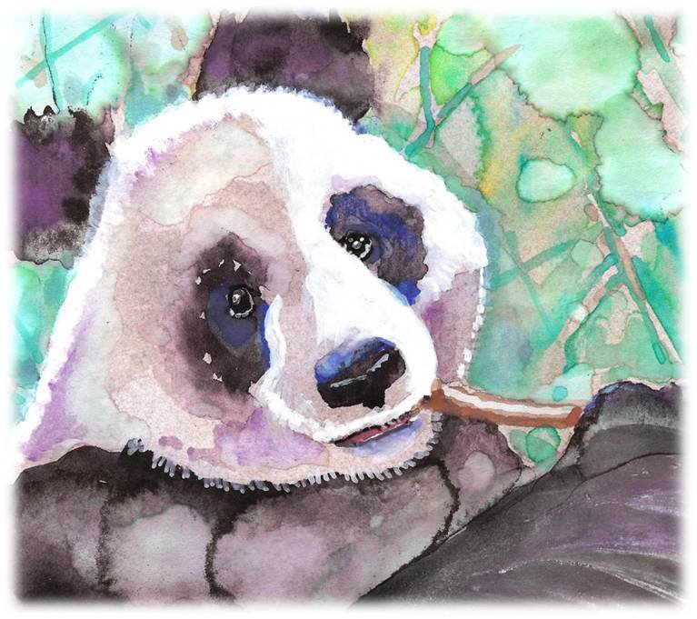 """Panda"" Watercolor Painting Print"