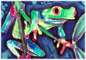 """""""Red-Legged Tree Frog"""" Watercolor Painting Print"""