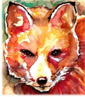 """""""Red Fox"""" Watercolor Painting Print"""