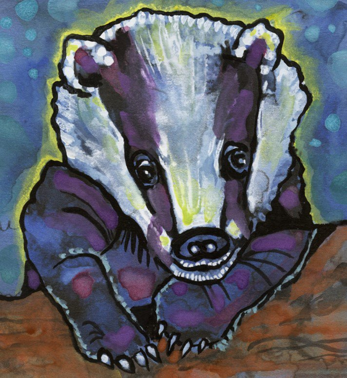 """""""Nighttime for Badger"""" Watercolor Painting Print"""
