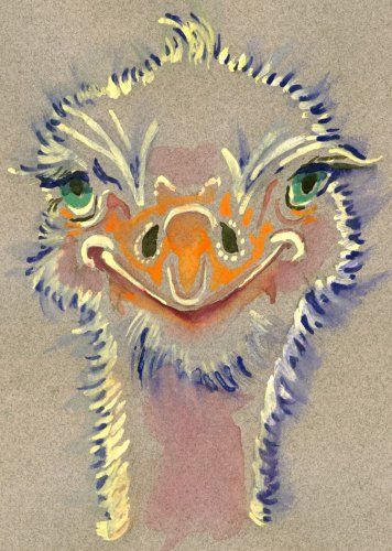 """""""Ostrich"""" Watercolor Painting Print"""