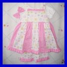 Girls 2T 2 24M Spring Summer Boutique SUNDRESS DRESS SET Pink Polka Dots Kitty Cats Toddler