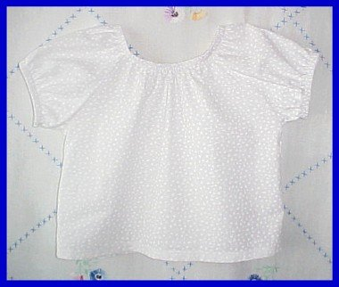 White on White Floral Cotton Peasant Blouse Size Girls Toddler Small 2T 3T New