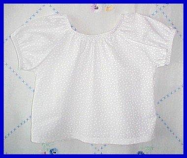 White on White Floral Cotton Peasant Blouse Girls Child Medium 4T 5 New