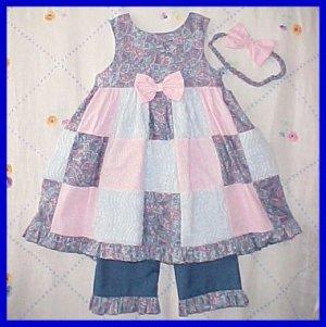 4T 4 Spring Summer ROSE PATCHWORK CHENILLE Boutique SUNDRESS DRESS Set Girls Toddler
