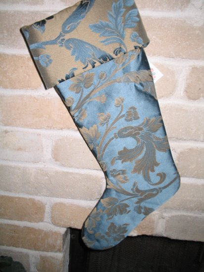 Blue & Gold Satin Christmas Stocking **JUST REDUCED HALF PRICE**
