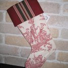 Maroon and Cream Toile Christmas Stocking- One-of-A-Kind **JUST REDUCED HALF PRICE**
