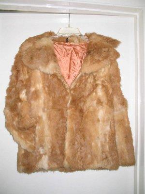 Rare Unique Apricot colored Real Ladies Rabbit Fur Coat REDUCED $10