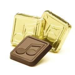 Musical Note Engraved Dark Chocolate Squares case of 250 Corporate Tradeshow Promotion Giveaways