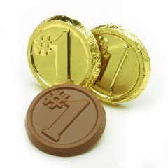 Number One Engraved Milk Chocolate Coins case of 250 Corporate Tradeshow Promotion Giveaways