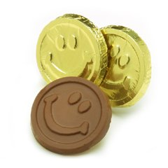Smiley Face Engraved Milk Chocolate Coins case of 250 Corporate Tradeshow Promotion Giveaways