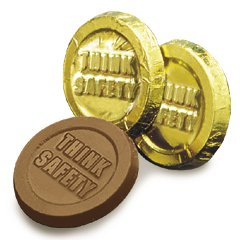 Think Safety Engraved Milk Chocolate Coins case of 250 Corporate Tradeshow Promotion Giveaways