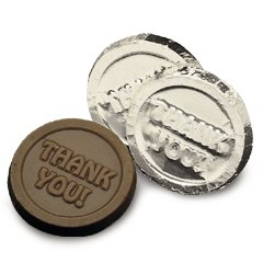 Thank You Engraved Dark Chocolate Coins case of 250 Corporate Tradeshow Promotion Giveaways