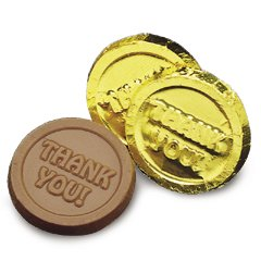 Thank You Engraved Milk Chocolate Coins case of 250 Corporate Tradeshow Promotion Giveaways