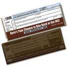 50 IRS 1040 Tax form design Engraved Dark Chocolate Bars for Clients or Tradshow Give-a-ways