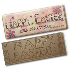 50 EASTER Engraved Milk Chocolate Bars for Clients or Employee Give-a-ways