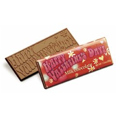 50 Happy Valentines Day Engraved Milk Chocolate Bars for Clients or Tradshow Give-a-ways