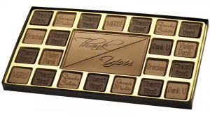45 Piece Thank You Chocolate Assortment Engraved Milk Chocolate Corporate Client gift CASE OF 5