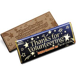 50 VOLUNTEER Engraved Milk Chocolate Bars for Clients or Tradshow Give-a-ways