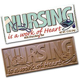 50 NURSING Nurses Engraved Milk Chocolate Bars for Clients or Tradshow Give-a-ways