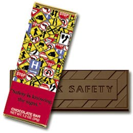 50 SAFETY Engraved Dark Chocolate Bars for Clients or Tradeshow Give-a-ways