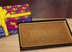 2 lb Pound Thank You Bars CASE OF 5  Milk Chocolate Bar Engraved for Clients or as a Gift