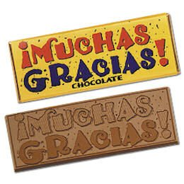 50 Muchas Gracias Engraved Milk Chocolate Bars for  Employees, Clients, and Tradeshow Give a ways