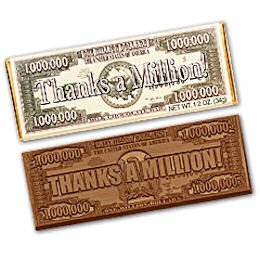 50 Thanks A Million Engraved Milk Chocolate Bars for Clients,  Employees or Tradeshow Give a ways