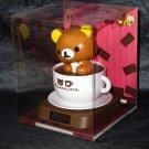 Rilakkuma Bobblehead solar power Japan Rilakkuma in Coffee Cup Boxed NEW