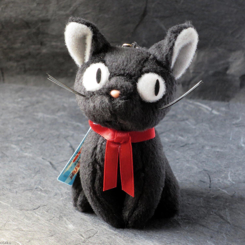 Kiki's Delivery Service Jiji Mascot Japan Sitting Plush Soft Toy Keychain NEW