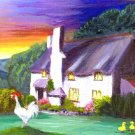 Good Morning Sunshine! / Cottage, Rooster, Duck / ACEO Original Acrylic Painting by R.J.