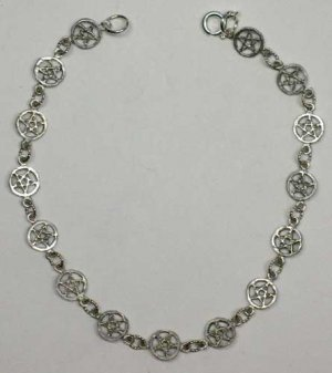 Tiny Pentacles Pewter Bracelet Wiccan Pentagram Pagan